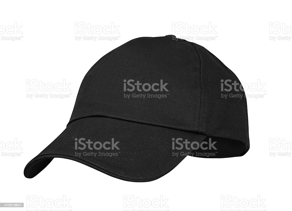 Plain black cap isolated on a white background stock photo