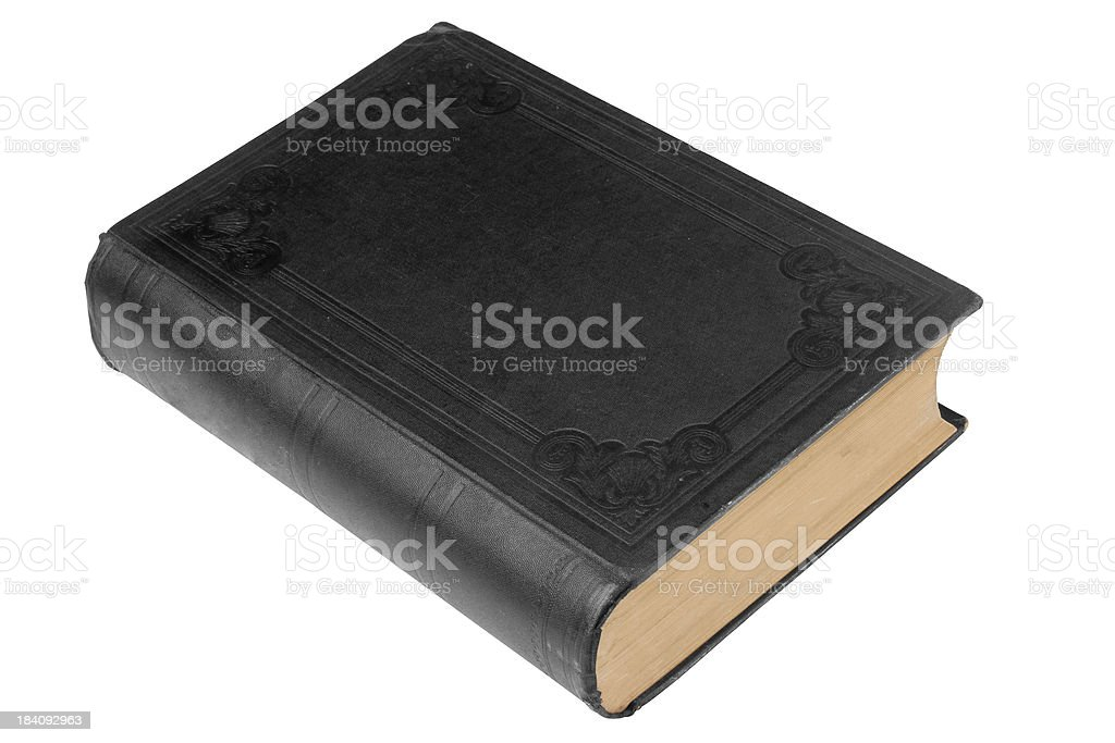 Plain black old bound book on white with path stock photo
