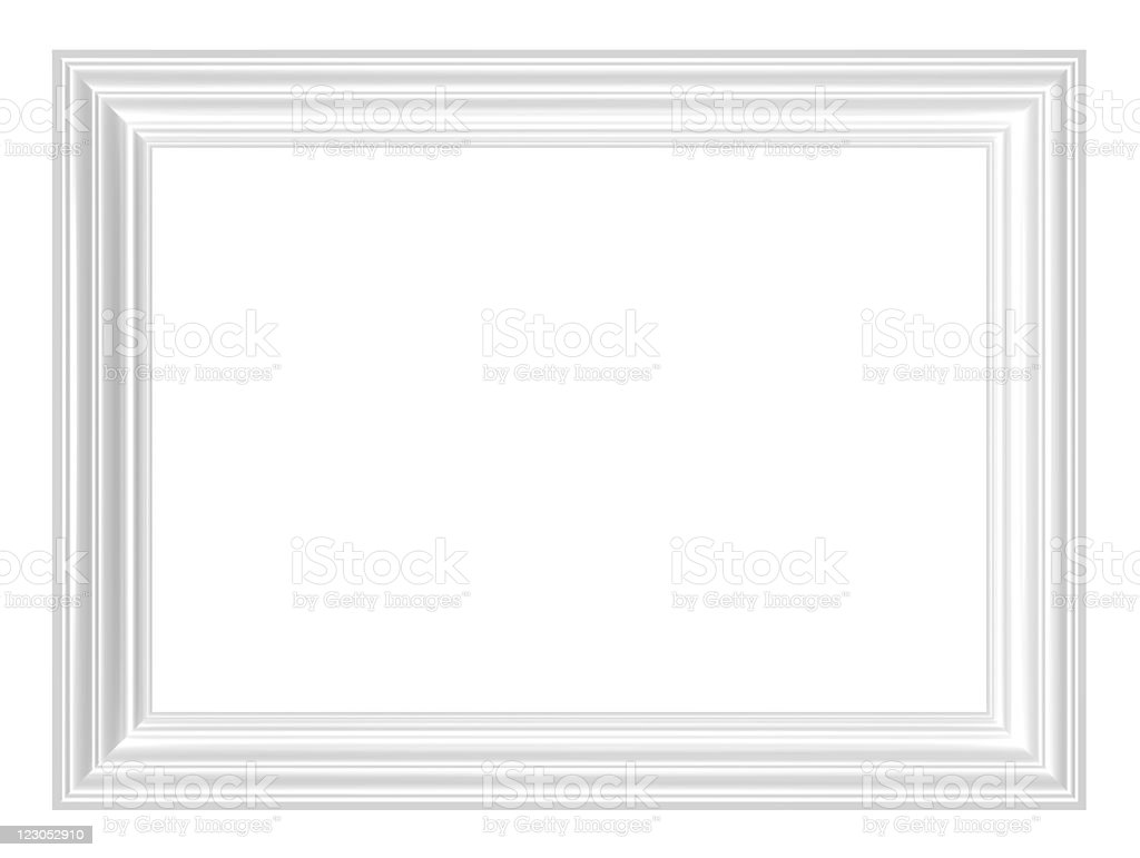 A plain blank white picture frame with white borders royalty-free stock photo