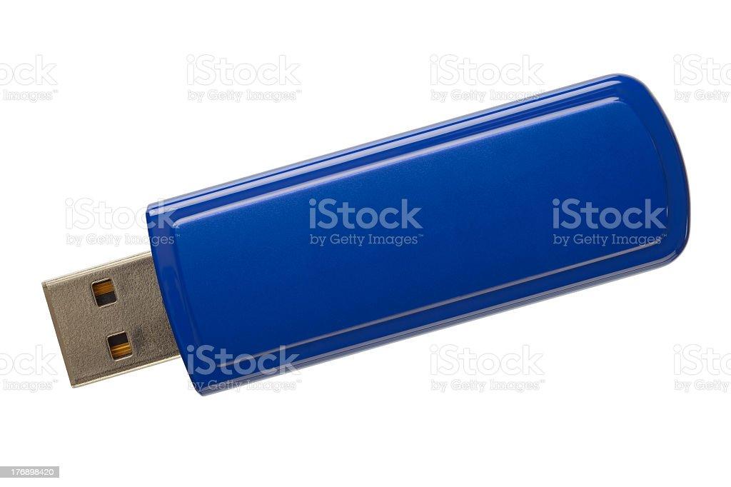 A plain blue USB flash memory drive stock photo