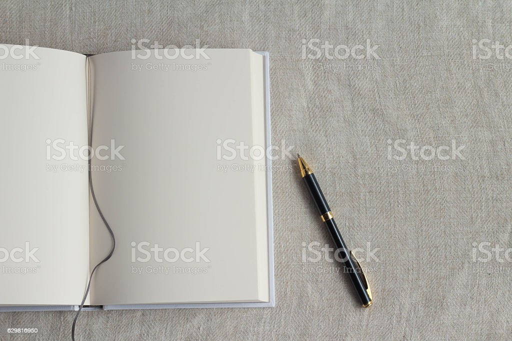 Plain book and pen stock photo