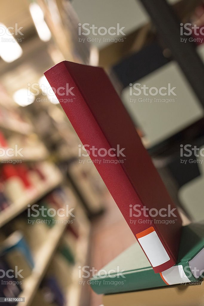 plain books in a library stock photo