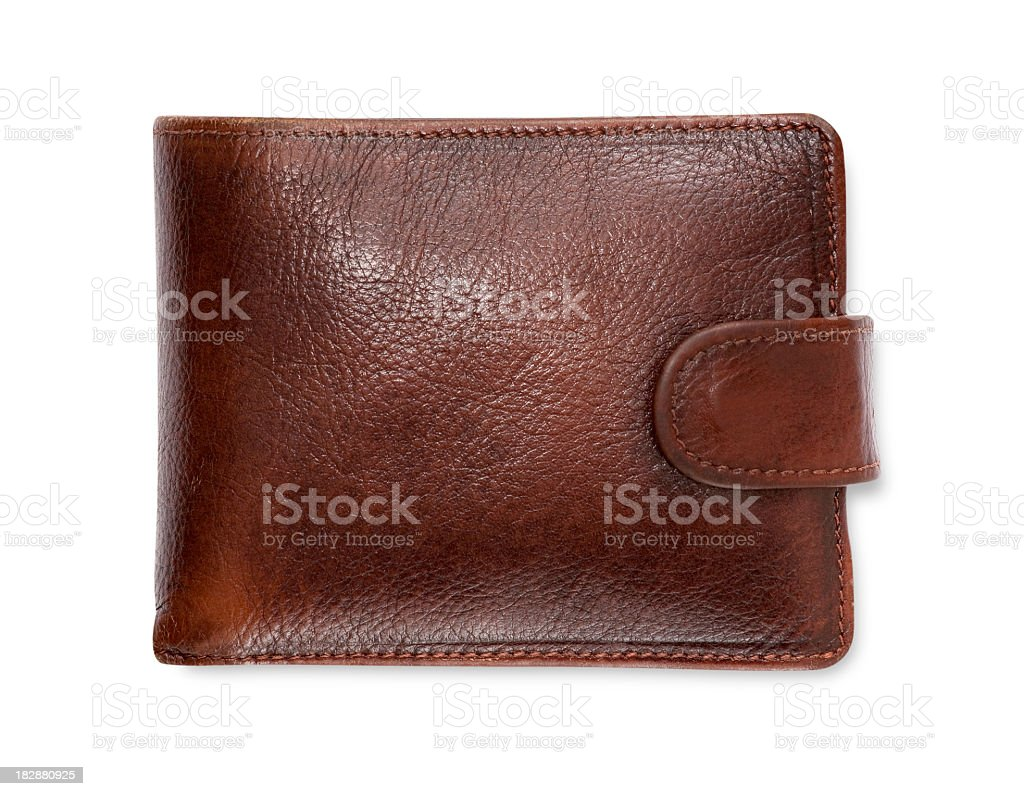 Plain brown leather wallet isolated on white background stock photo