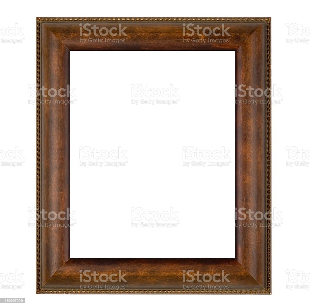 Plain Brown Picture Frame, Wide, White Isolated stock photo