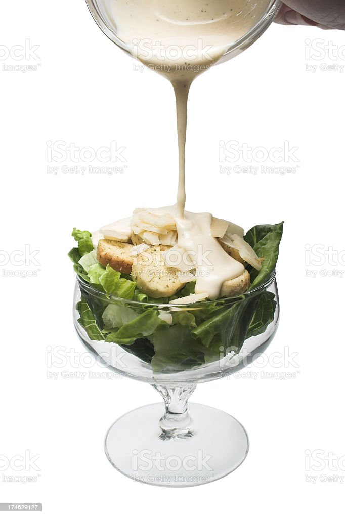 Plain Caesar Salad in Glass dish royalty-free stock photo