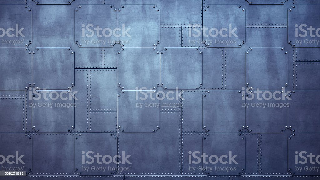Plain Factory Wall Made Out Of Metallic Plates stock photo