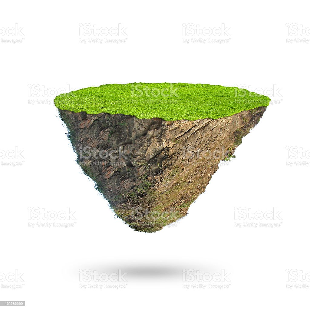 Plain glassy floating island casting shadow stock photo