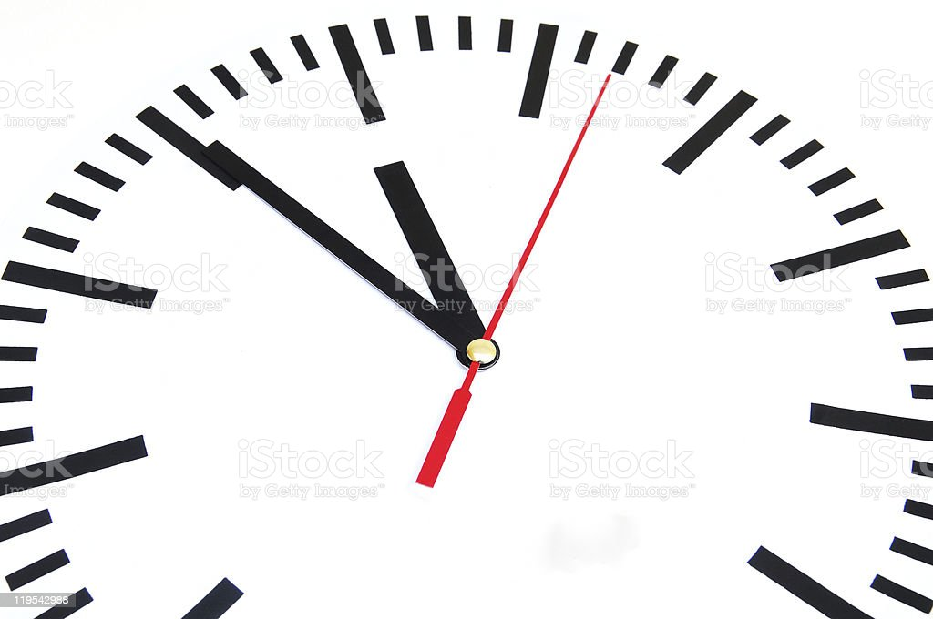 Plain numberless black and white clock isolated on white stock photo