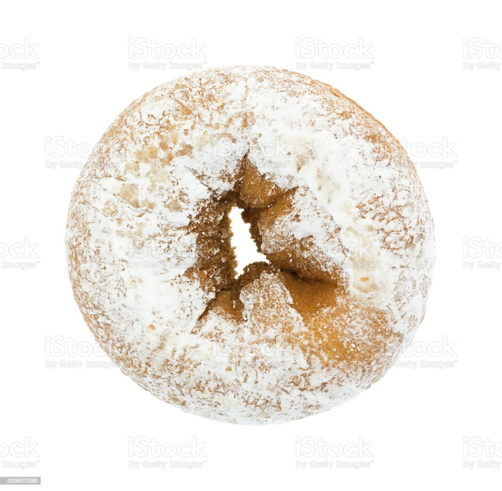 Plain powdered sugar cake donut on white background stock photo