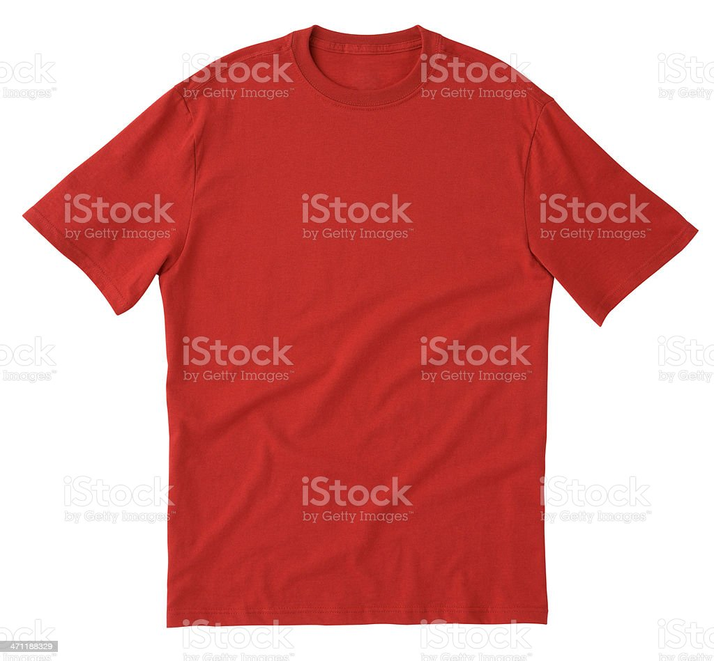 Plain red tee shirt isolated on white background stock photo