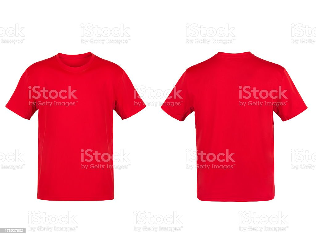 Red T-shirt isolated on white background stock photo