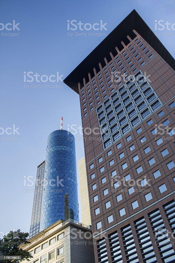 plain skyscraper in Frankfurt Germany royalty-free stock photo