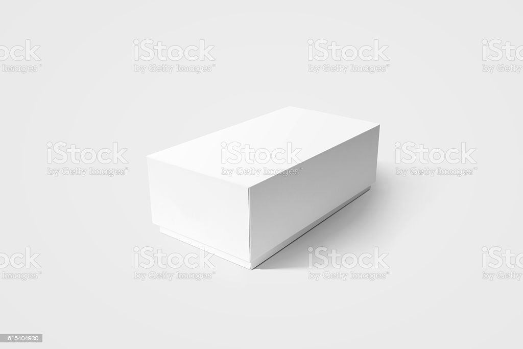 Plain white carton product box mockup, side view, clipping path. stock photo