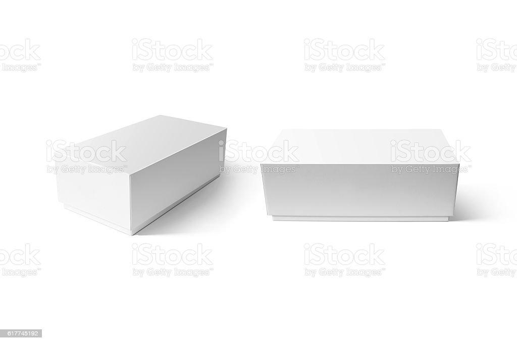 Plain white carton smart phone box mockup set stock photo