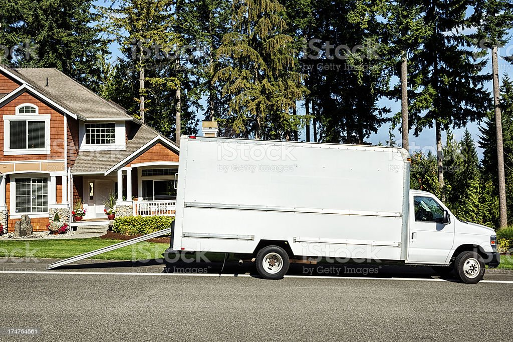 Plain White Moving Truck stock photo