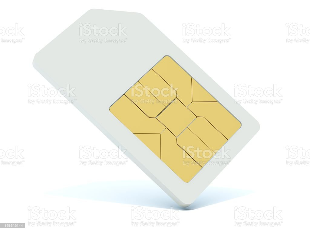 Plain white SIM card on white background stock photo