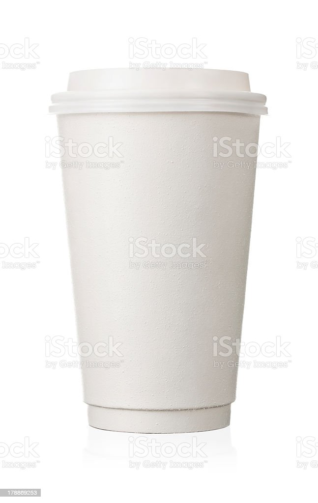 Plain white to go coffee cup isolated on a white background stock photo