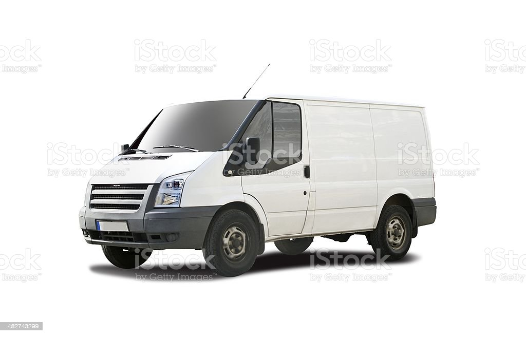Plain white van stock photo