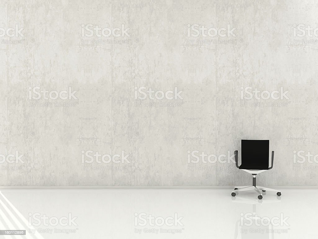 A plain white wall and floor with a small office chair royalty-free stock photo