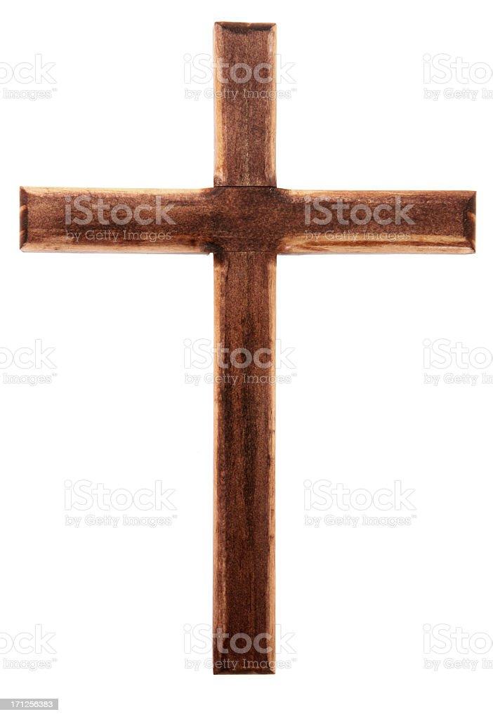 Plain wooden cross isolated on white stock photo