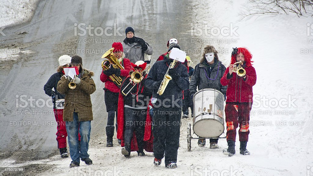Plainfield brass band at the Maple Corner Mardi Gras stock photo