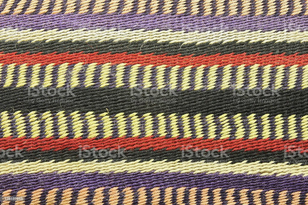 Plains Indian Blanket Rug Jute Hemp Fabric stock photo