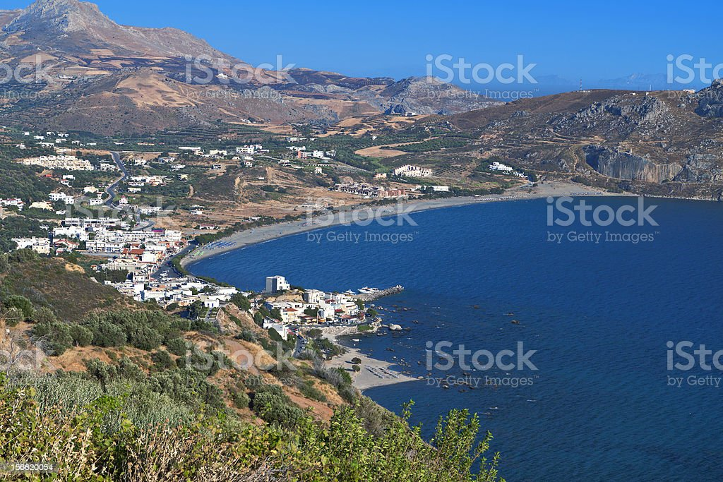 Plakias bay and beach at South Crete island stock photo