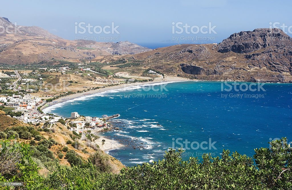 Plakias village and Plakias beach, Crete island, Greece stock photo