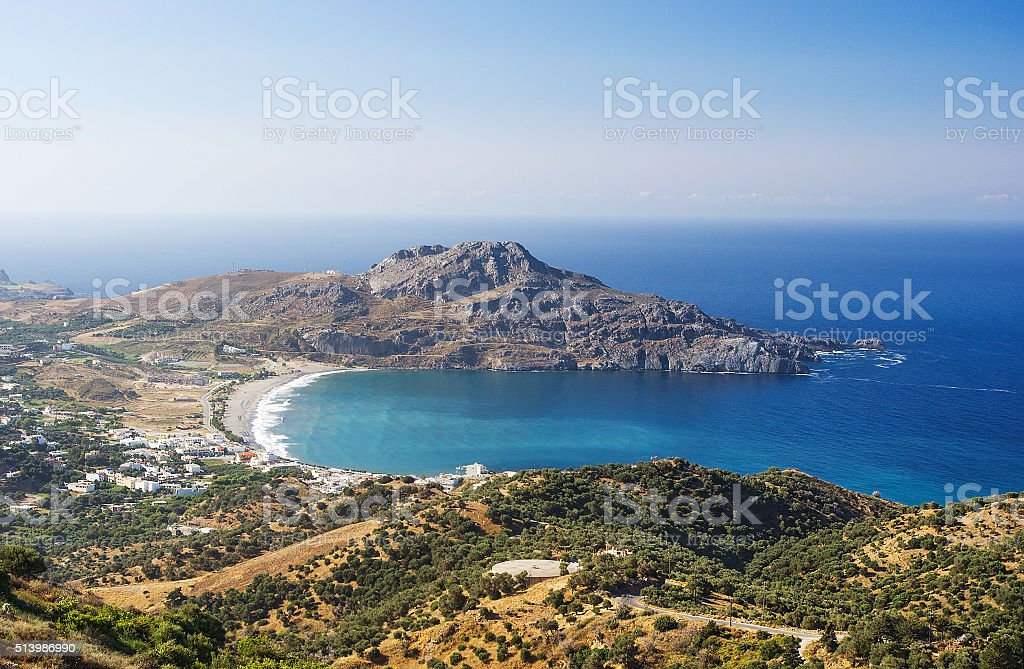 Plakias village and Plakias beach. Crete island, Greece. stock photo