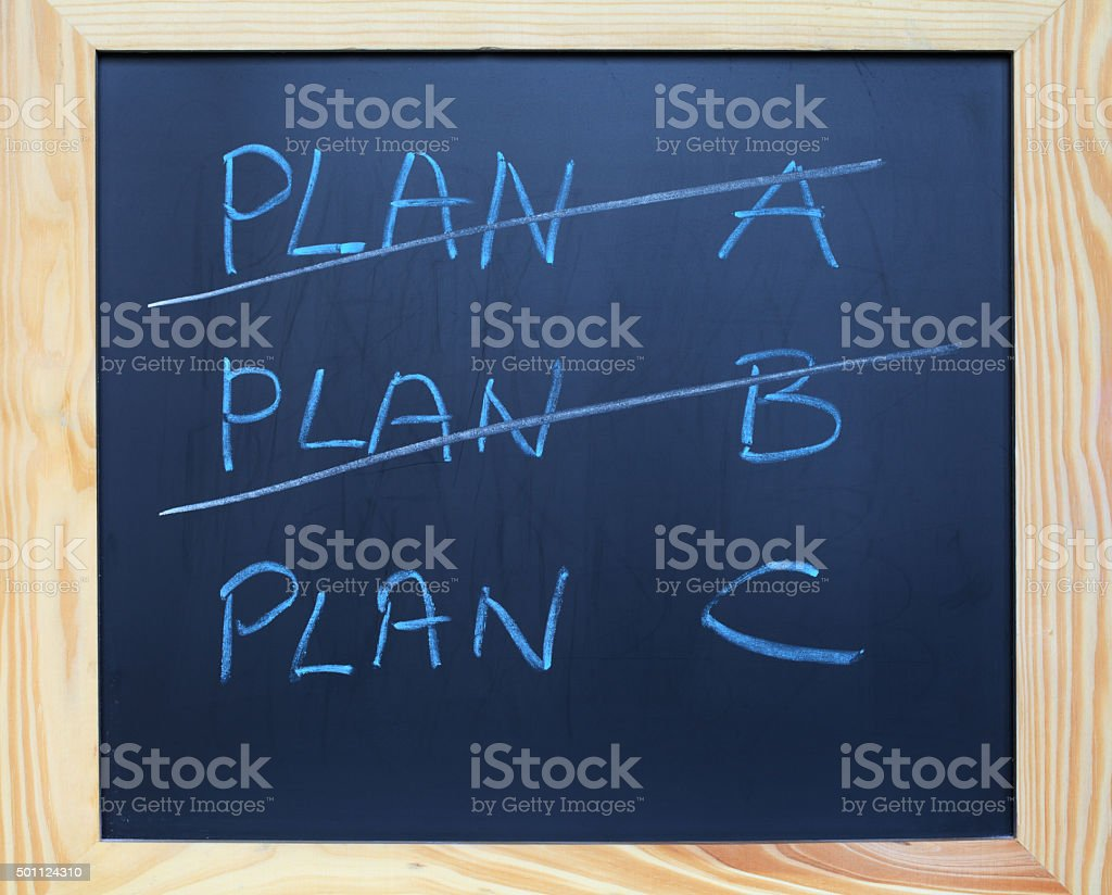 Plan A and B or C stock photo