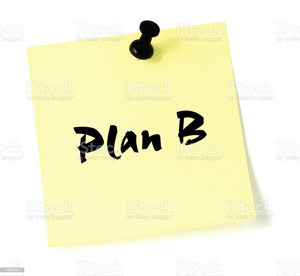 Plan B, written sticky note post-it style sticker, yellow isolated stock photo