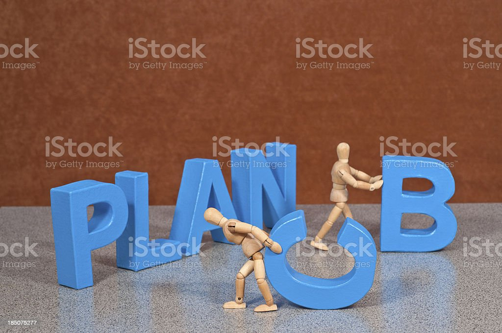 Plan C - Wooden Mannequin demonstrating this word royalty-free stock photo