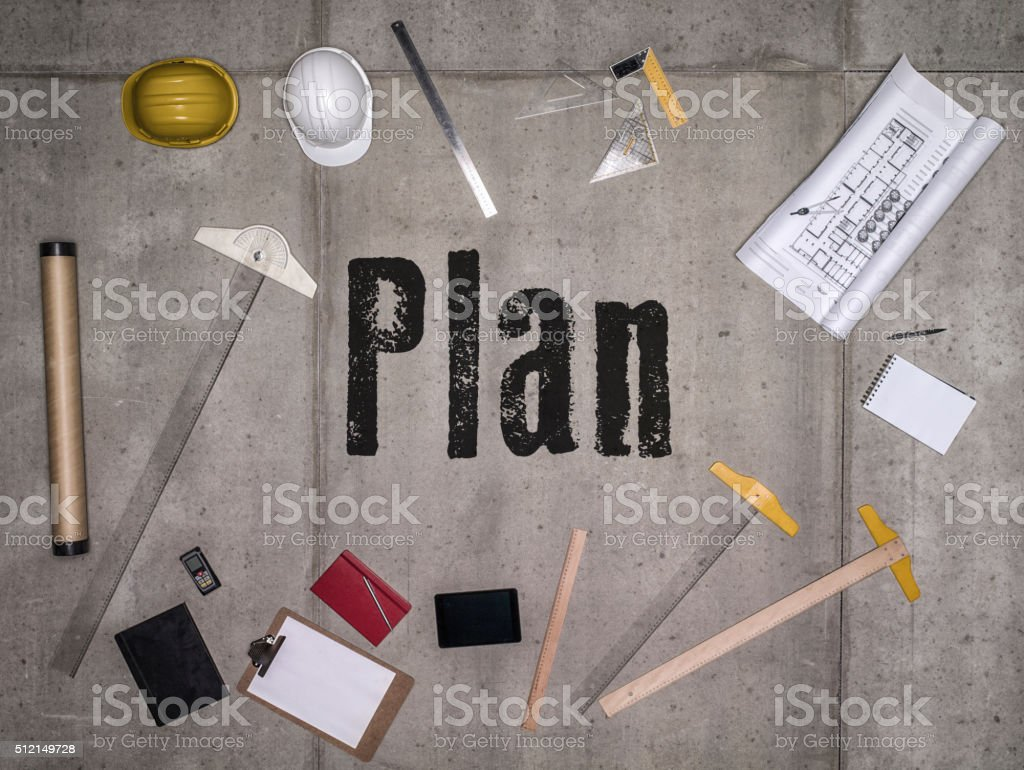 Plan Concept with Engineering tools stock photo