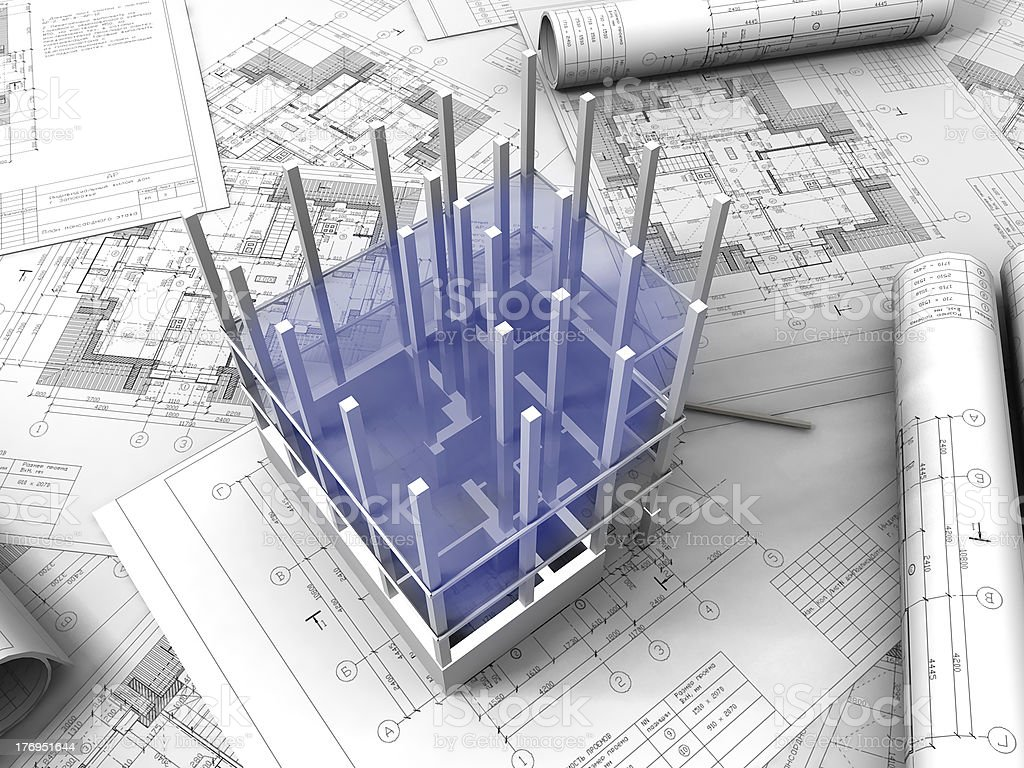 3D plan drawing royalty-free stock photo