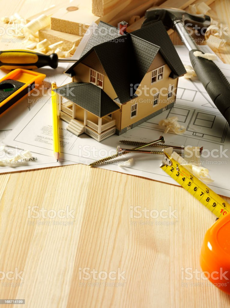 Plan for Building a Timber House royalty-free stock photo
