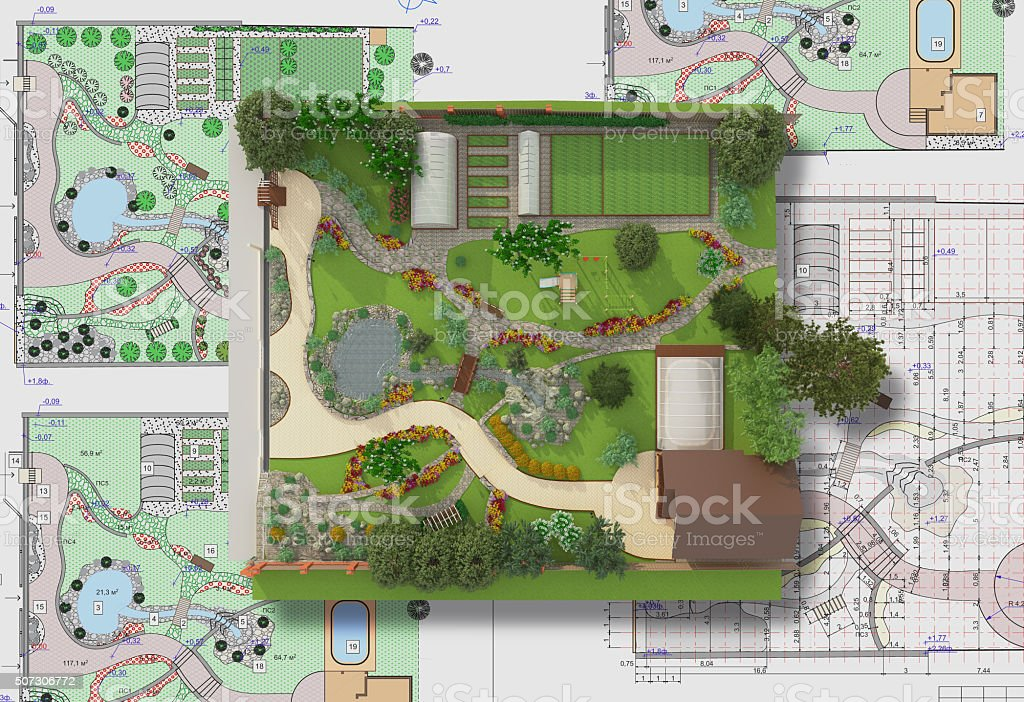 Plan of garden land stock photo