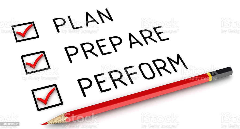 Plan, prepare, perform. List with the marks stock photo