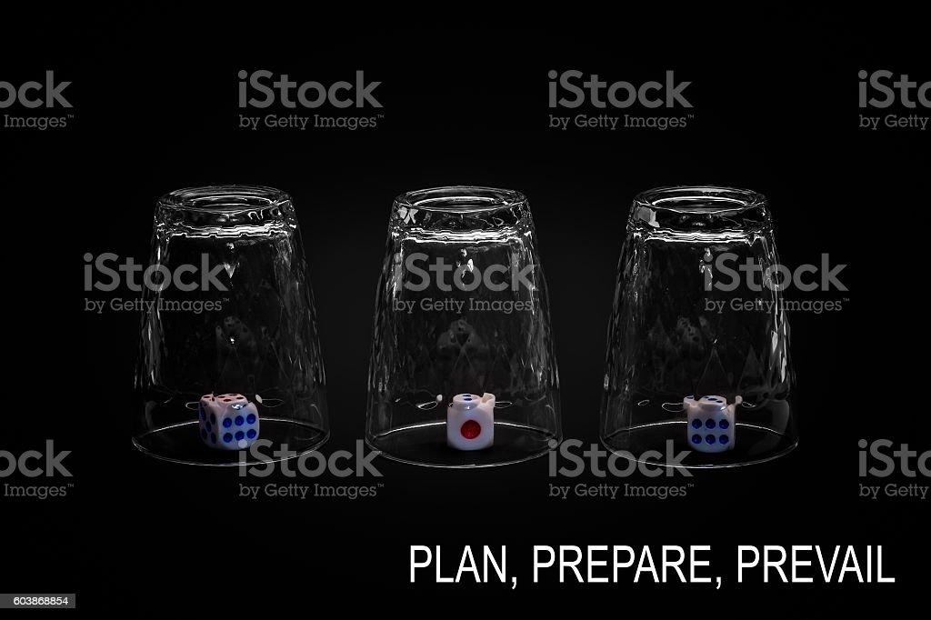 Plan, prepare, prevail stock photo
