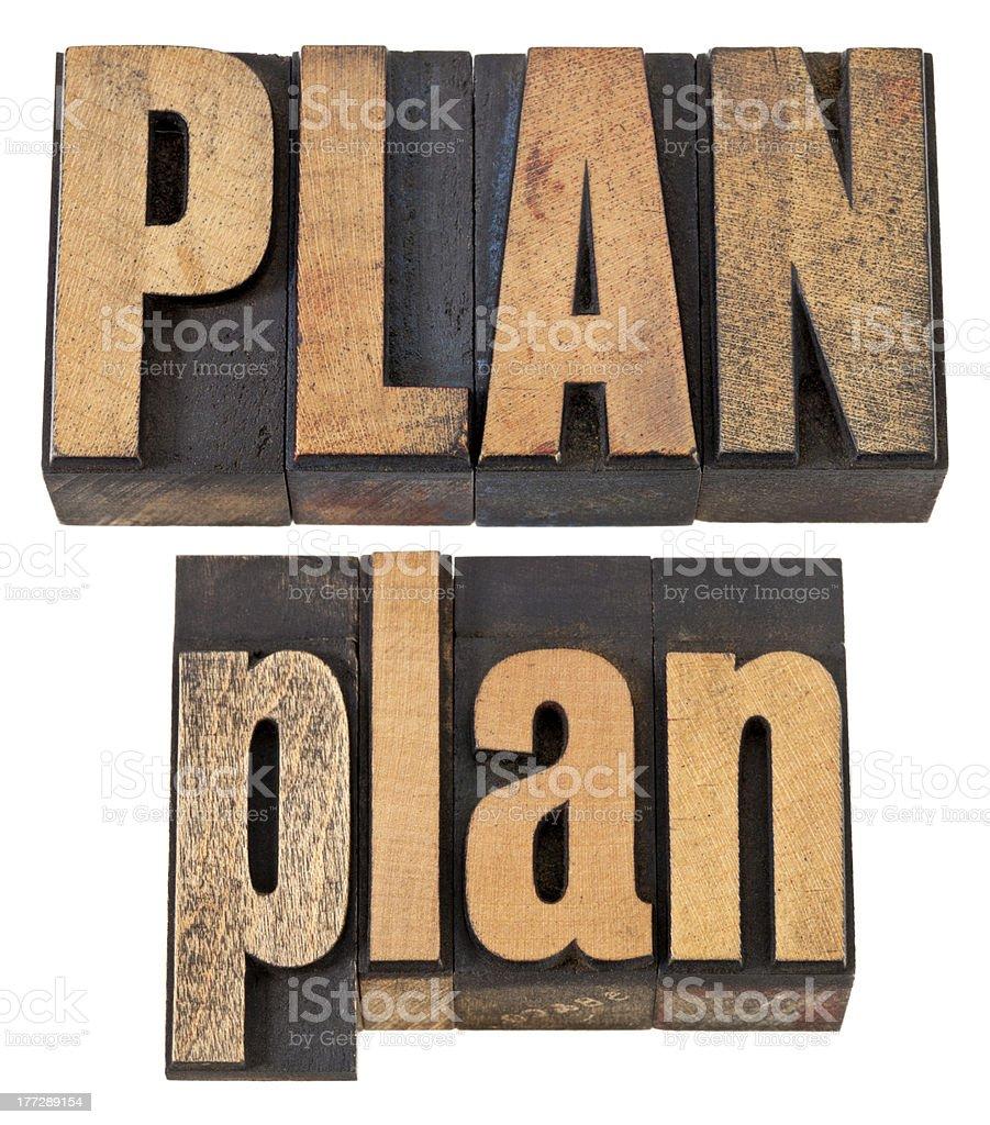 plan word in letterpress wood type royalty-free stock photo