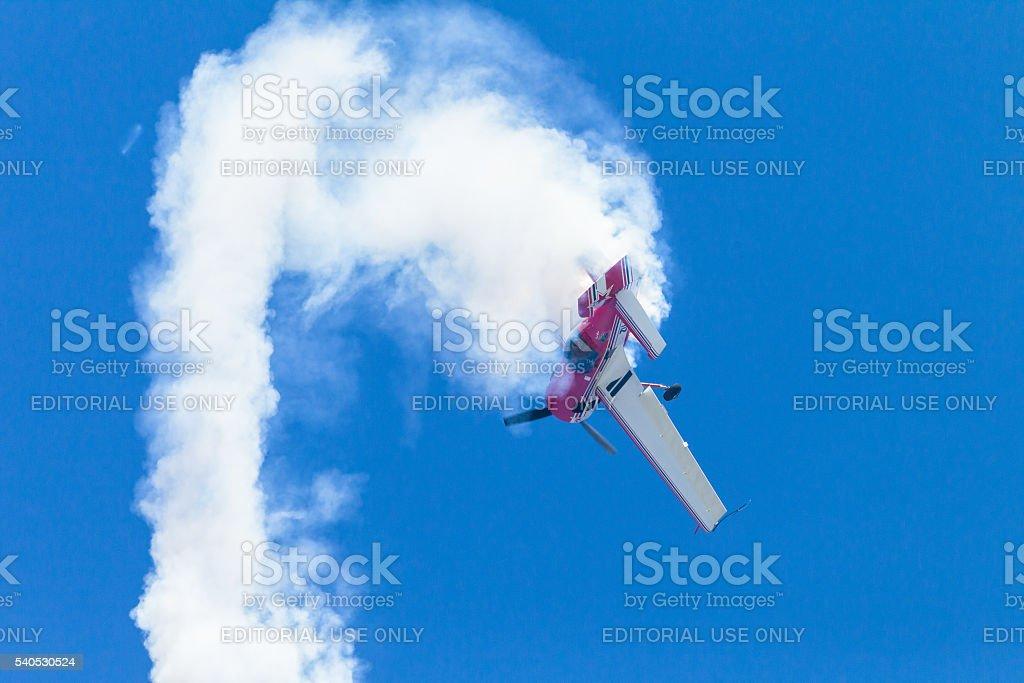 Plane Acrobatics Roll Flying stock photo