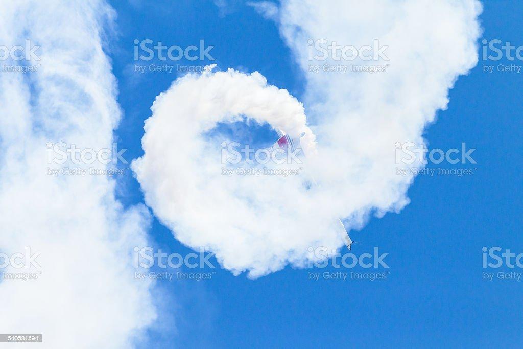 Plane Acrobatics Rolls Flying stock photo