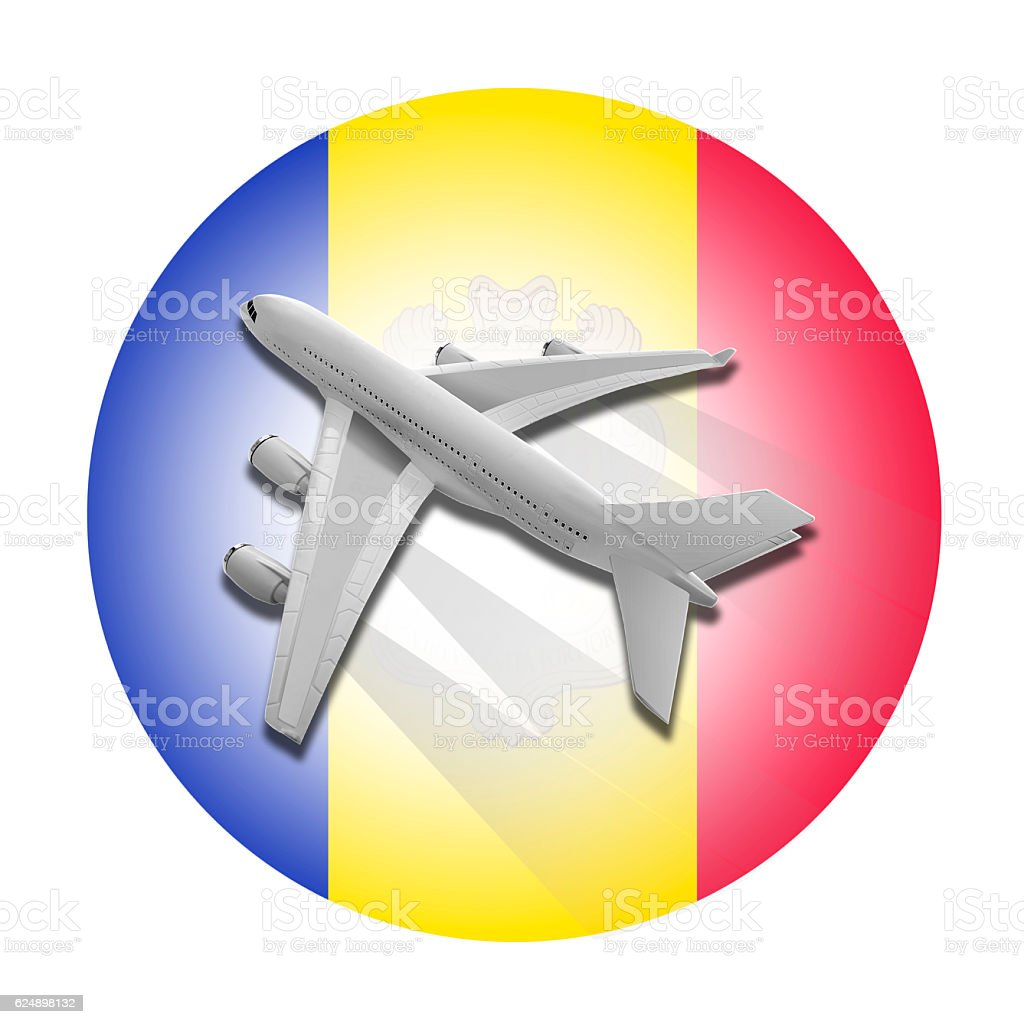 Plane and Andorra flag. stock photo