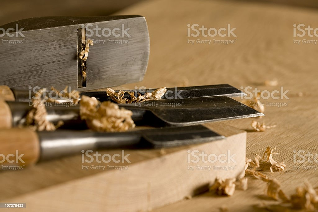 Plane and chisels royalty-free stock photo