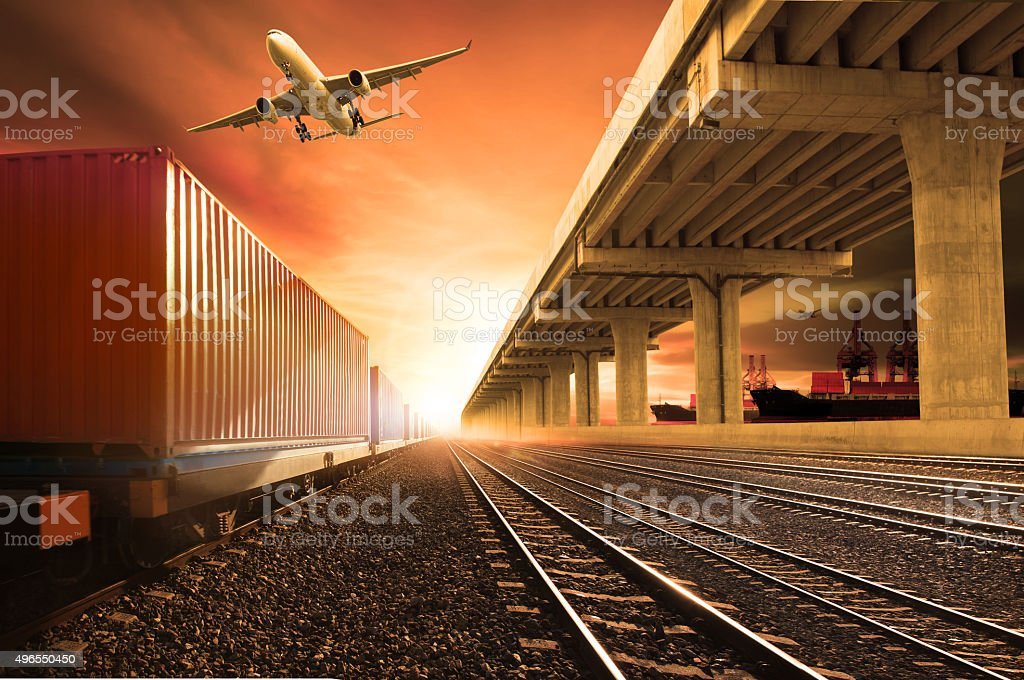 plane and container trains in land transoprtation stock photo