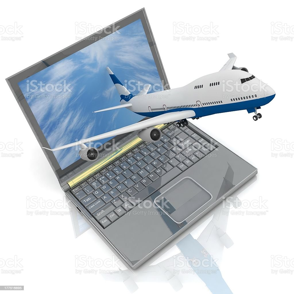 Plane and laptop royalty-free stock photo