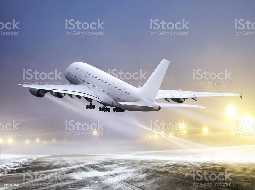 plane at non-flying weather stock photo