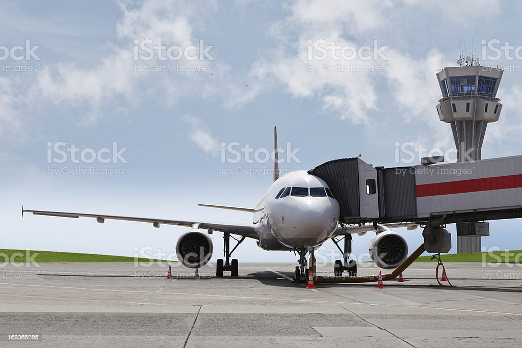 Plane at the gate stock photo