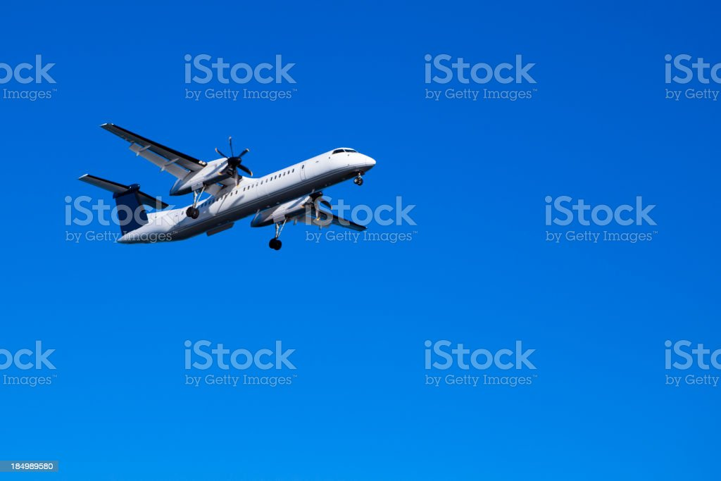 Plane attempting landing stock photo