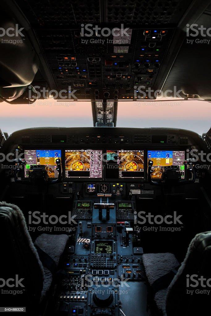 Plane cockpit stock photo