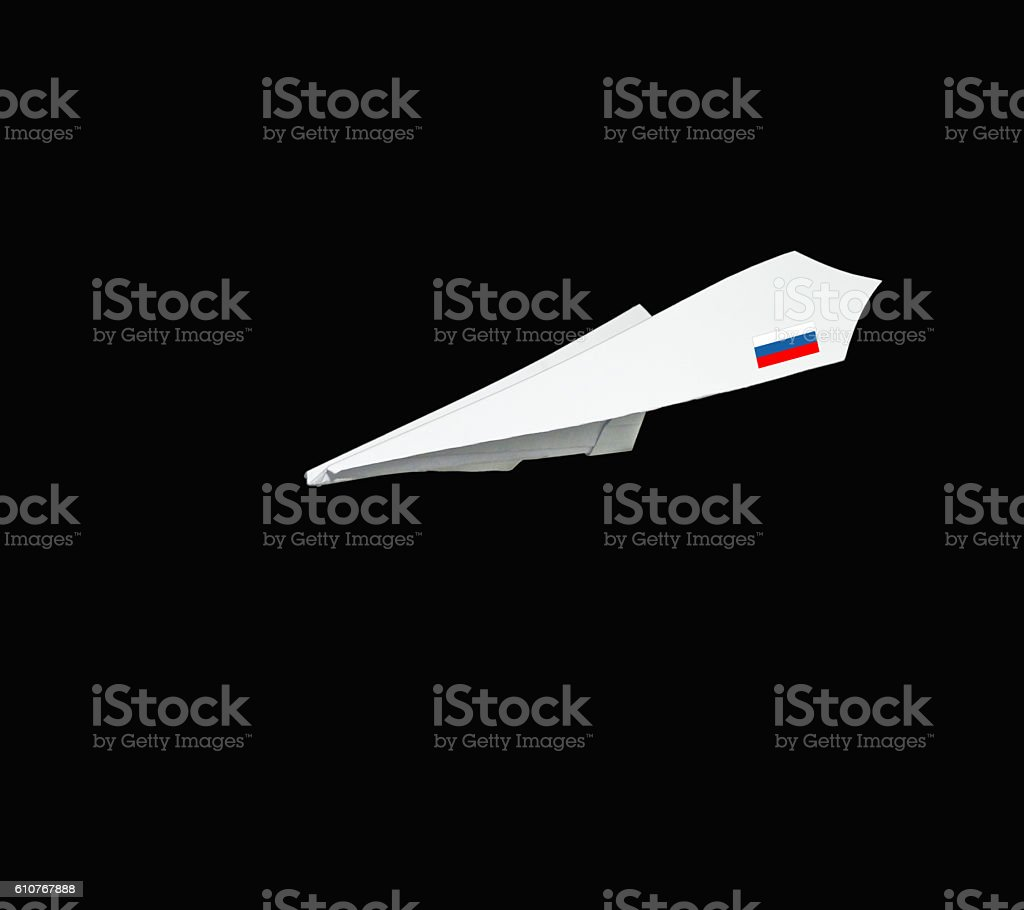 Plane collection made from paper with flag. stock photo